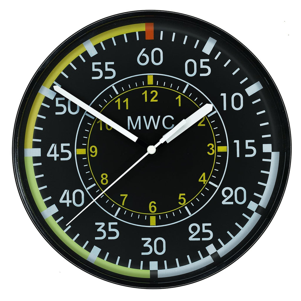 MWC Clock - Aircraft Instrument Airspeed Indicator, Silent Sweep Movement, 22.5cm - Wall Clock