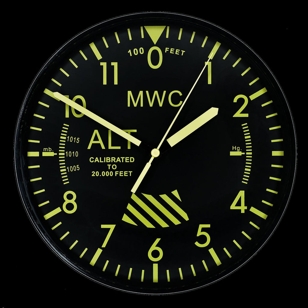 MWC Clock - Limited Edition Altimeter with High Visibility Dial, Silent Sweep Movement, 22.5cm - Wall Clock