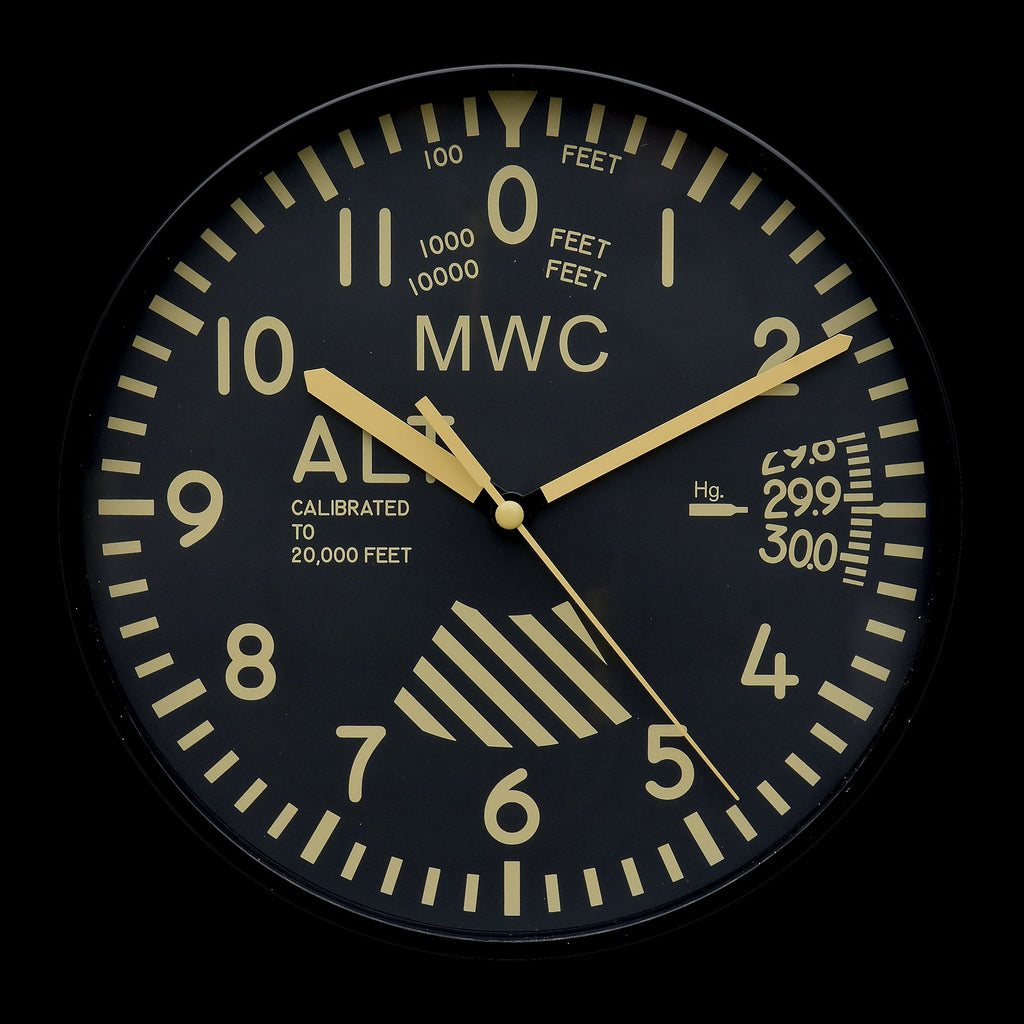 MWC Clock - Limited Edition Altimeter with Retro Subdued Dial, Silent Sweep Movement, 22.5cm - Wall Clock