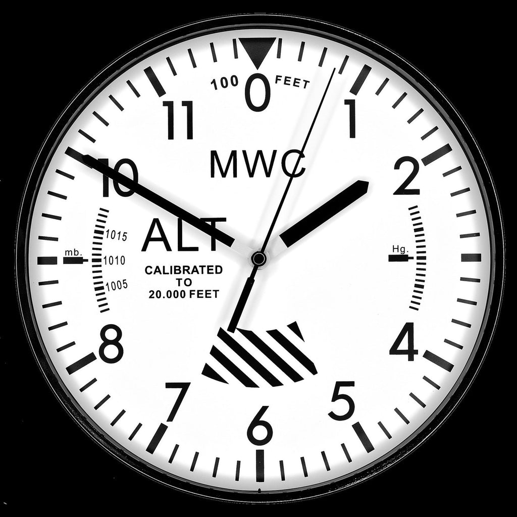 MWC Clock - Limited Edition Altimeter with White Dial, Silent Sweep Movement, 22.5cm - Wall Clock