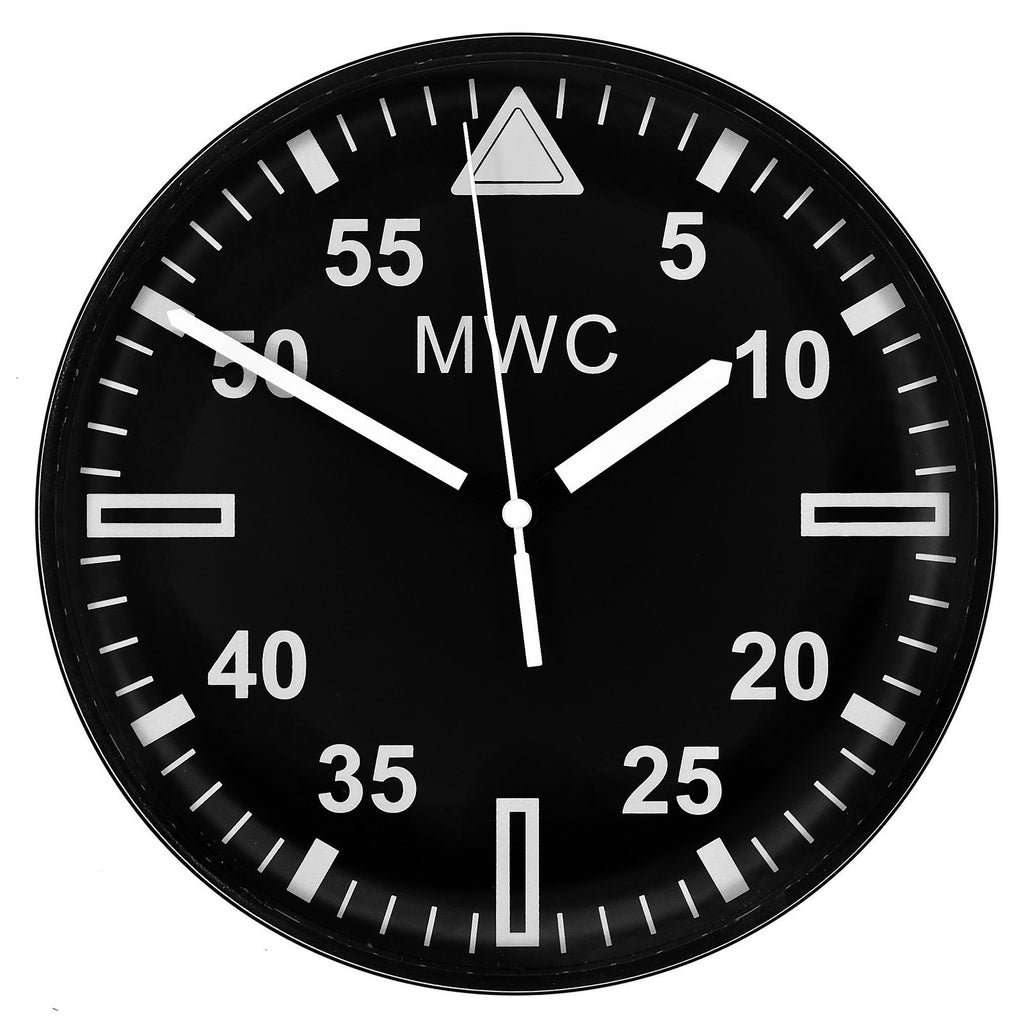 MWC Clock - Latest 2018 Military Pattern, Silent Sweep Movement, 22.5cm - Wall Clock
