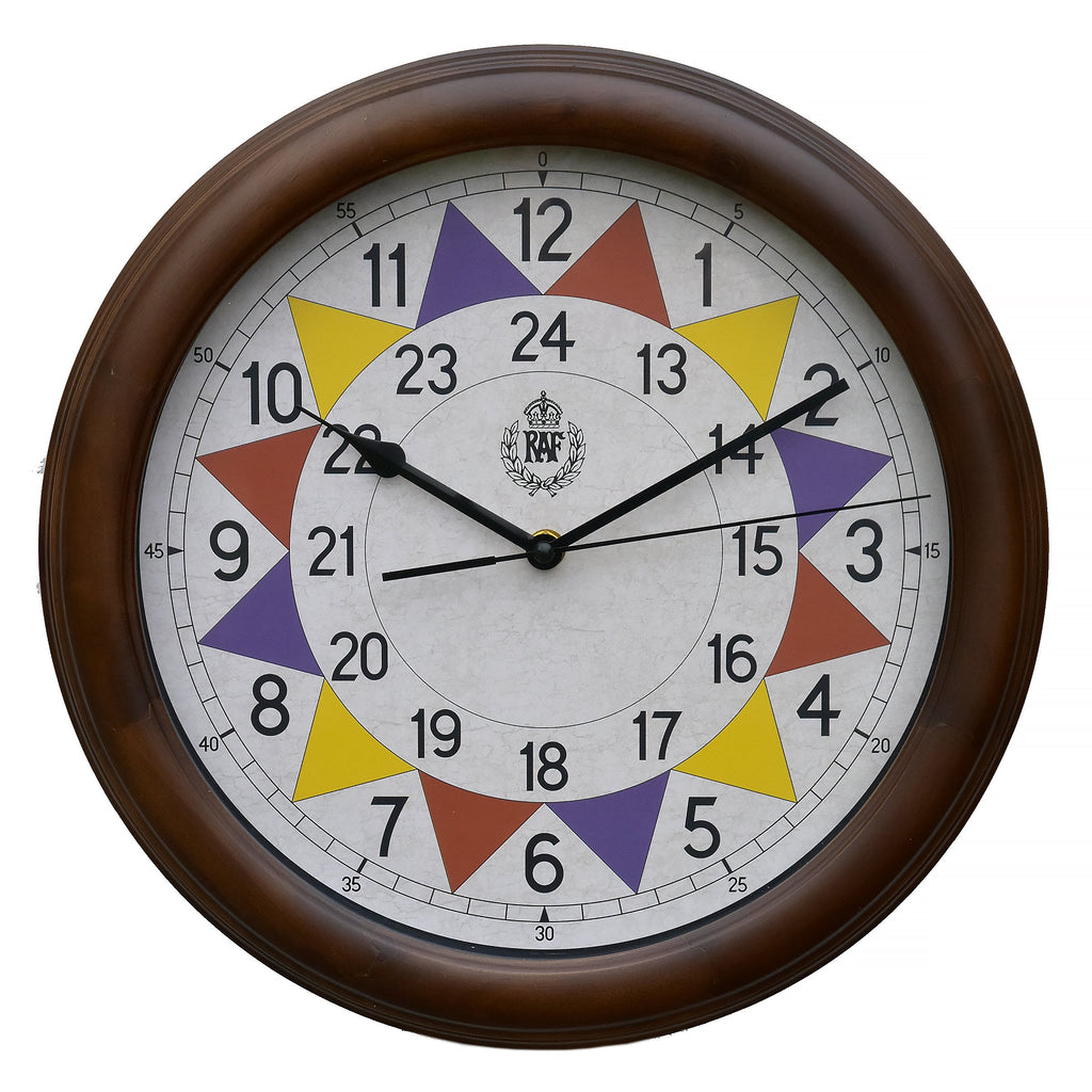 "MWC Clock - 1940 ""Battle of Britain"" Pattern Replica, Wooden Case, 12/24 Hour, Silent Sweep Movement, 30.5cm - Wall Clock"