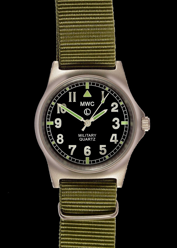 MWC Infantry Watch - G10 LM Stainless Steel Non Date Military Watch (Olive Green Strap)
