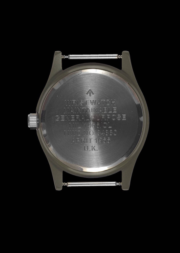 MWC Classic Watch - 1960s/70s Pattern Olive Drab European Pattern Military Watch on Matching Strap