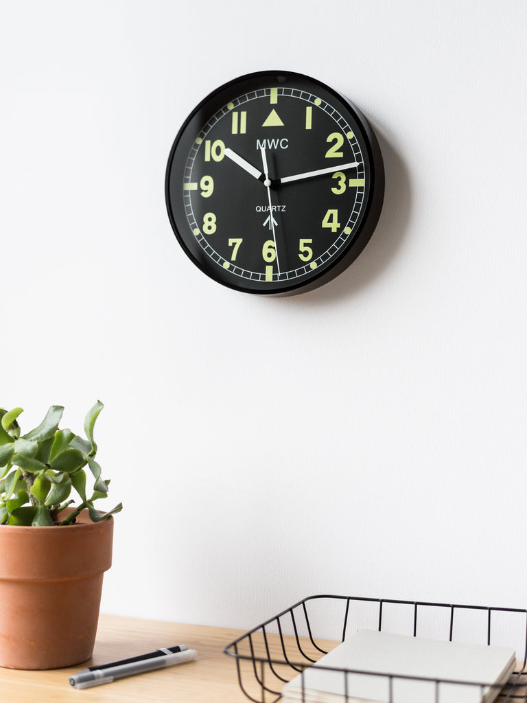 MWC Clock - Retro G10 Pattern Military, Silent Sweep Movement, 22.5cm - Wall Clock