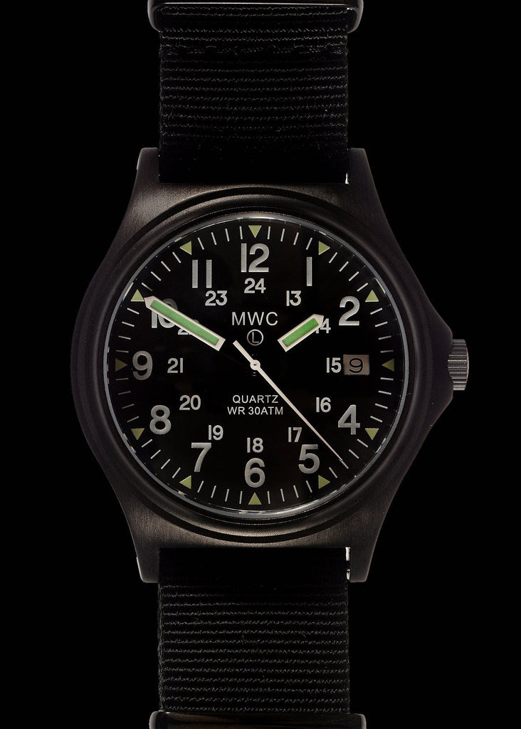 MWC Infantry Watch - G10 300m / 1000ft Water resistant Limited Edition Military Watch in Black PVD Finish with Sapphire Crystal on NATO Strap