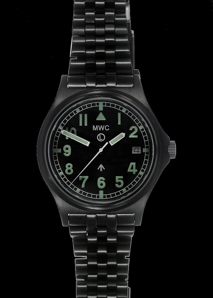 MWC Infantry Watch - G10 300m / 1000ft Water resistant Black PVD Steel Military Watch with Sapphire Crystal on Bracelet