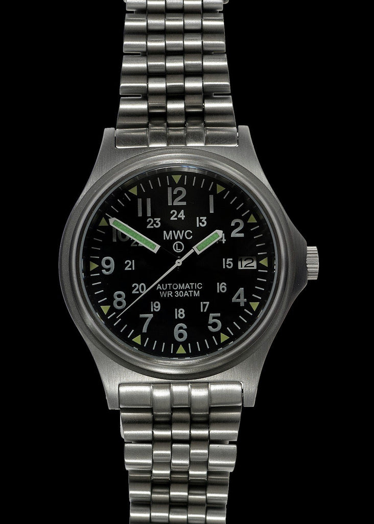 MWC Infantry Watch - G10 Automatic 300m / 1000ft Water resistant 12/24 Hour Steel Military Watch with Sapphire Crystal on Bracelet