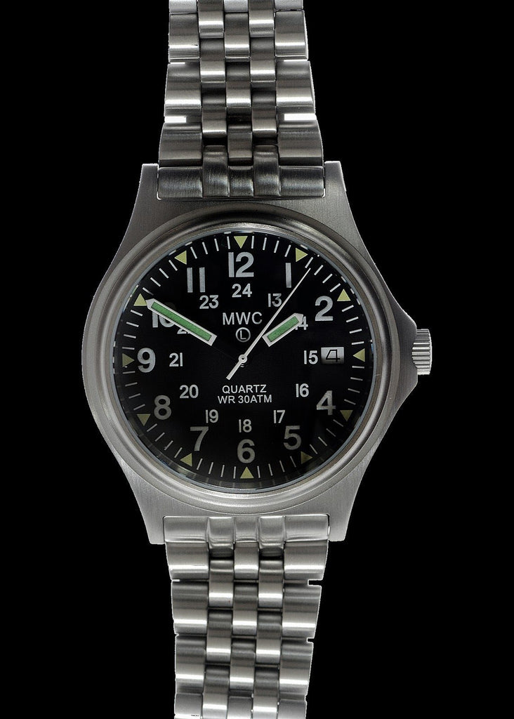 MWC Infantry Watch - G10 300m 1000ft Water resistant 12/24 Hour Steel Military Watch with Sapphire Crystal on Bracelet