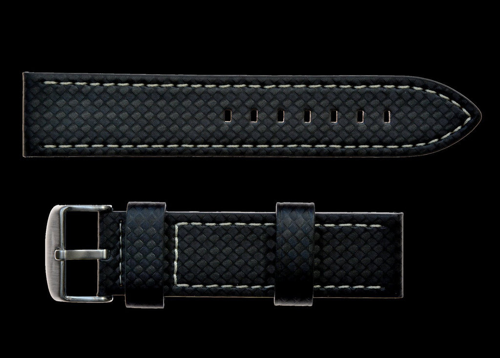 MWC Watch Strap - 20mm Unbranded Black Carbon Fibre Effect Leather Watch Strap