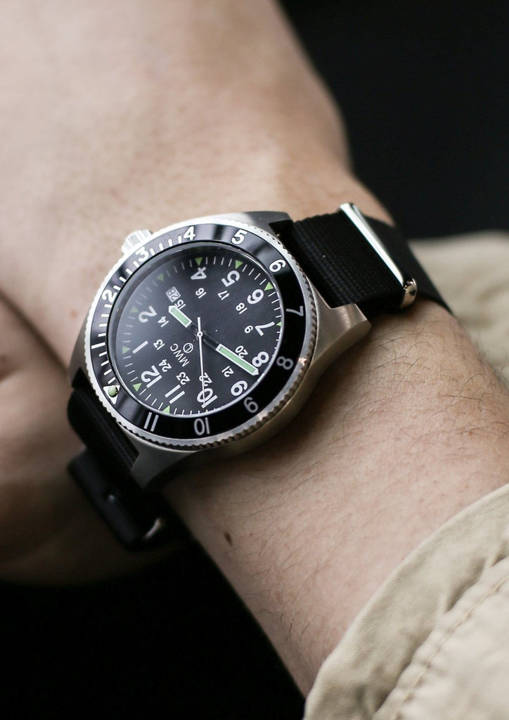 MWC Classic Navigator Watch - 300m Water Resistant Stainless Steel Navigator Watch with Super Luminova