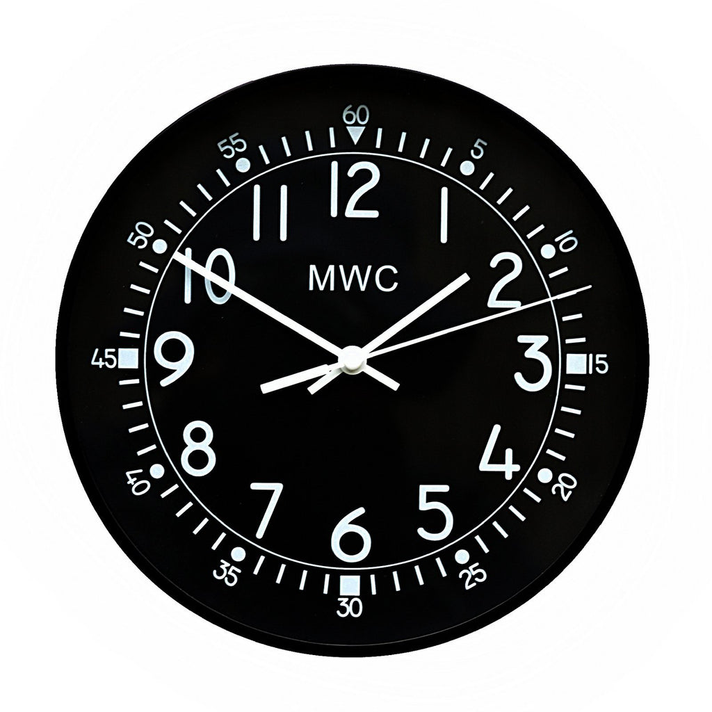 MWC Clock - Retro 1940s/50s Pattern Military, Silent Sweep Movement, 22.5cm - Wall Clock