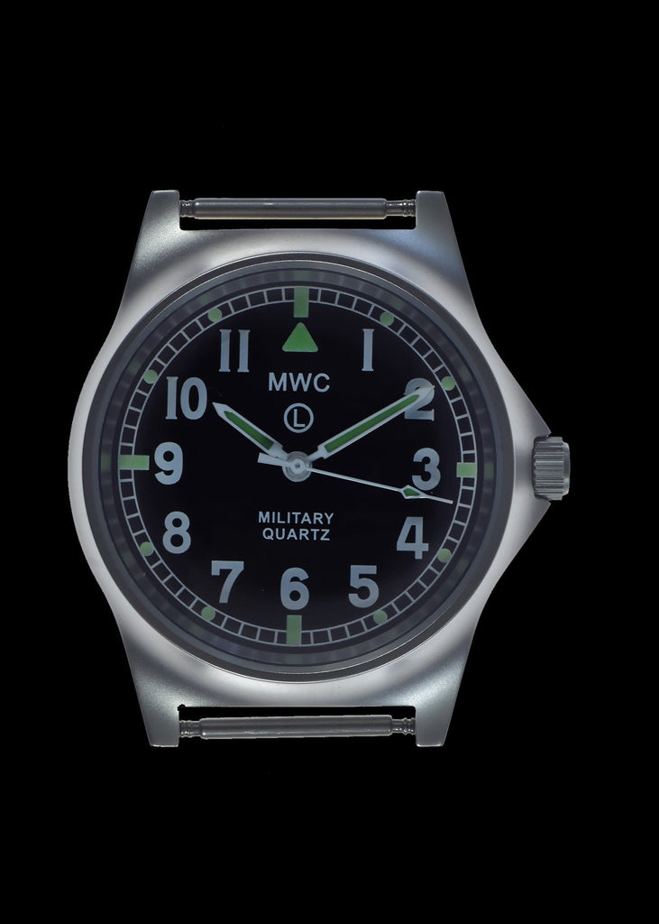 MWC Infantry Watch - G10 LM Non Date Stainless Steel Military Watch (Desert Strap)