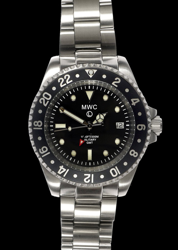MWC Classic Watch - GMT Dual Timezone Stainless Steel Military Watch on Matching Bracelet