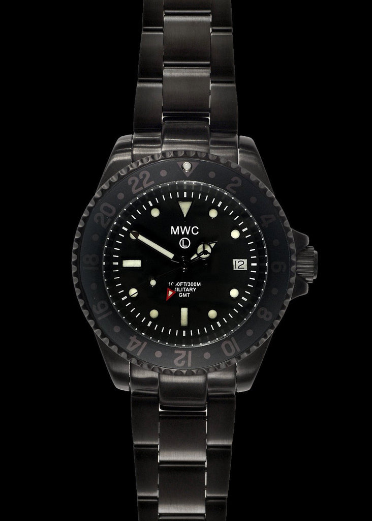 MWC Classic Watch - GMT Dual Timezone PVD Military Watch on Matching Steel Bracelet