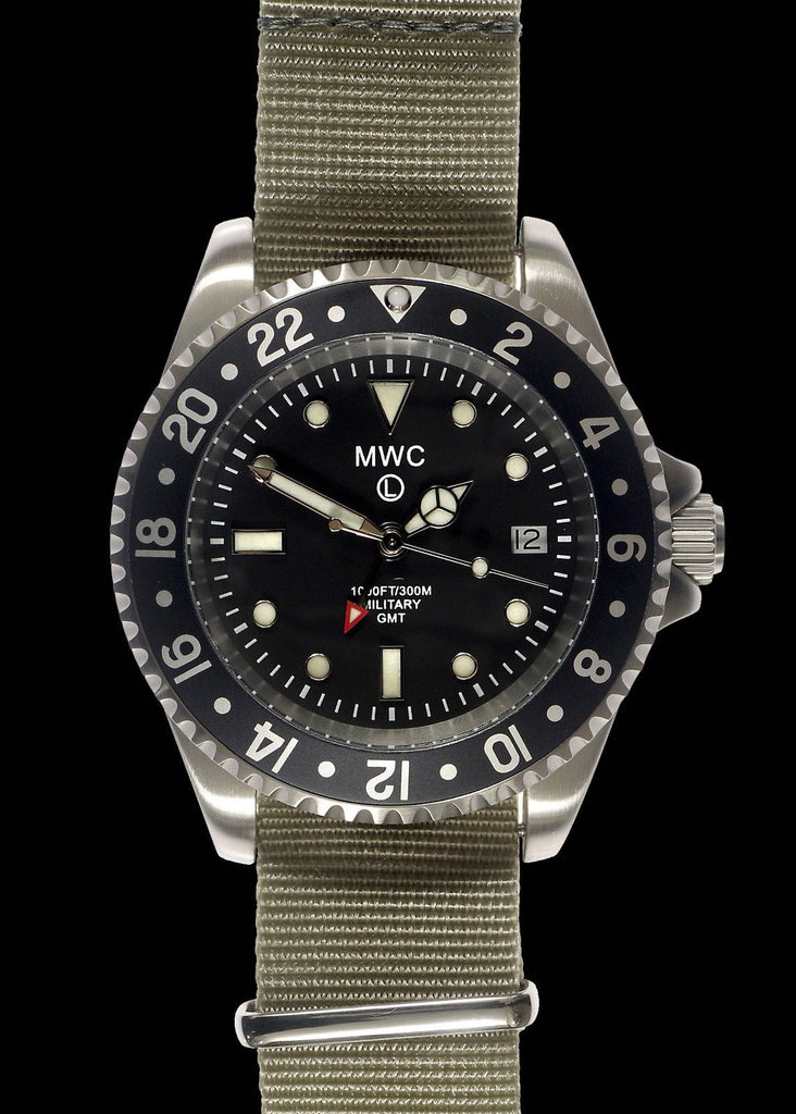 MWC Classic Watch - GMT Dual Timezone Stainless Steel Military Watch on NATO Strap