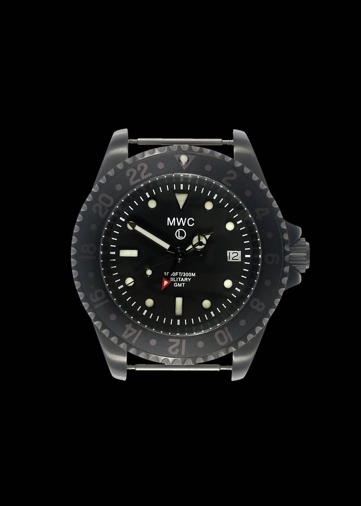 MWC Classic Watch - GMT Dual Timezone Military Watch in Black PVD Steel