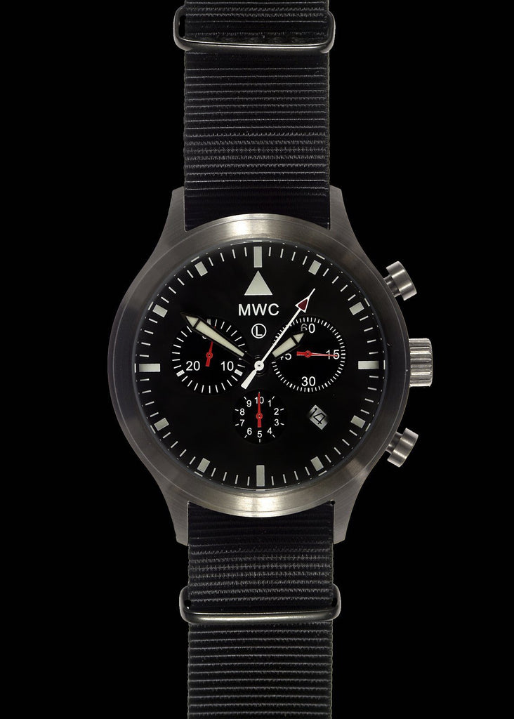 MWC Classic Pilots Watch - MIL-TEC MKIV Stainless Steel Military Pilots Chronograph