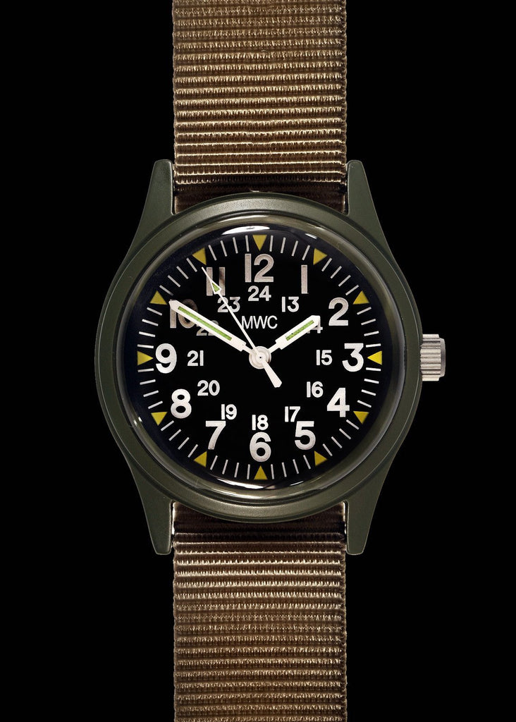 MWC Classic Watch - 1960s / 70s Pattern Olive Vietnam Watch on Matching Khaki Webbing Strap