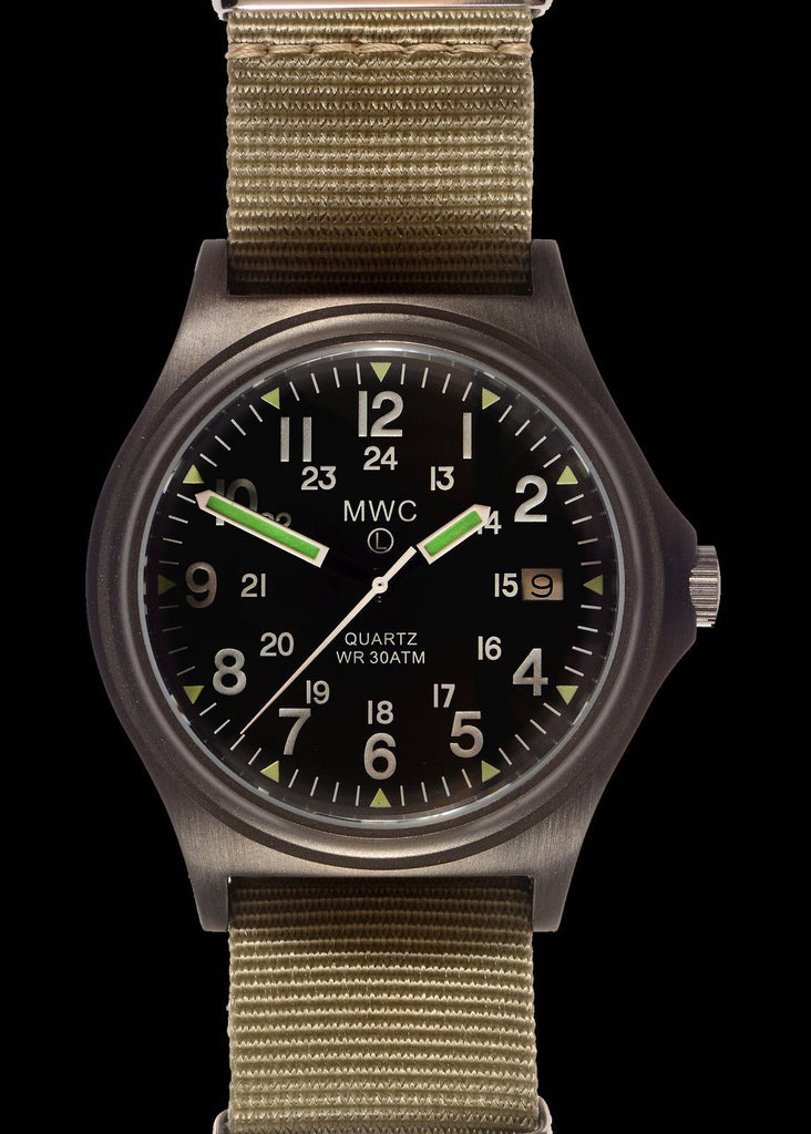 MWC Infantry Watch - G10 300m / 1000ft Water Resistant, Limited Edition Military, Brushed Gunmetal, Sapphire Crystal, NATO Straps