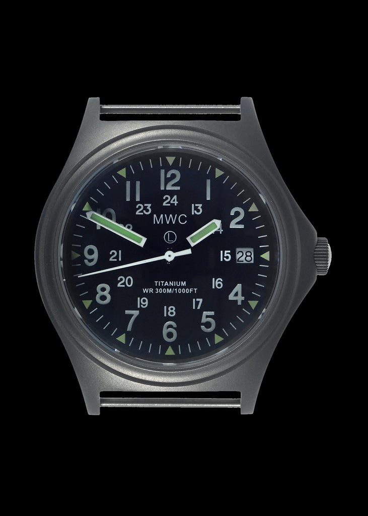 MWC Infantry Watch - Titanium General Service, 300m Water Resistant, 10 Yr Battery, Luminova, Sapphire Crystal, 12/24 Dial (Date Version)