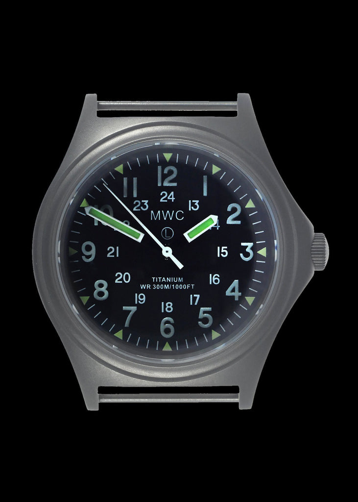 MWC Infantry Watch - Titanium General Service, 300m Water Resistant, 10 Yr Battery, Luminova, Sapphire Crystal, 12/24 Dial (Non Date Version)