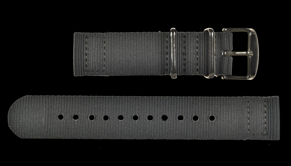 MWC Watch Strap - 22mm - NATO Military Ballistic Nylon with Stainless Steel Fasteners - 2 Piece
