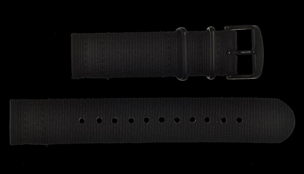 MWC Watch Strap - 22mm - NATO Military Ballistic Nylon with Black PVD Fasteners - 2 Piece