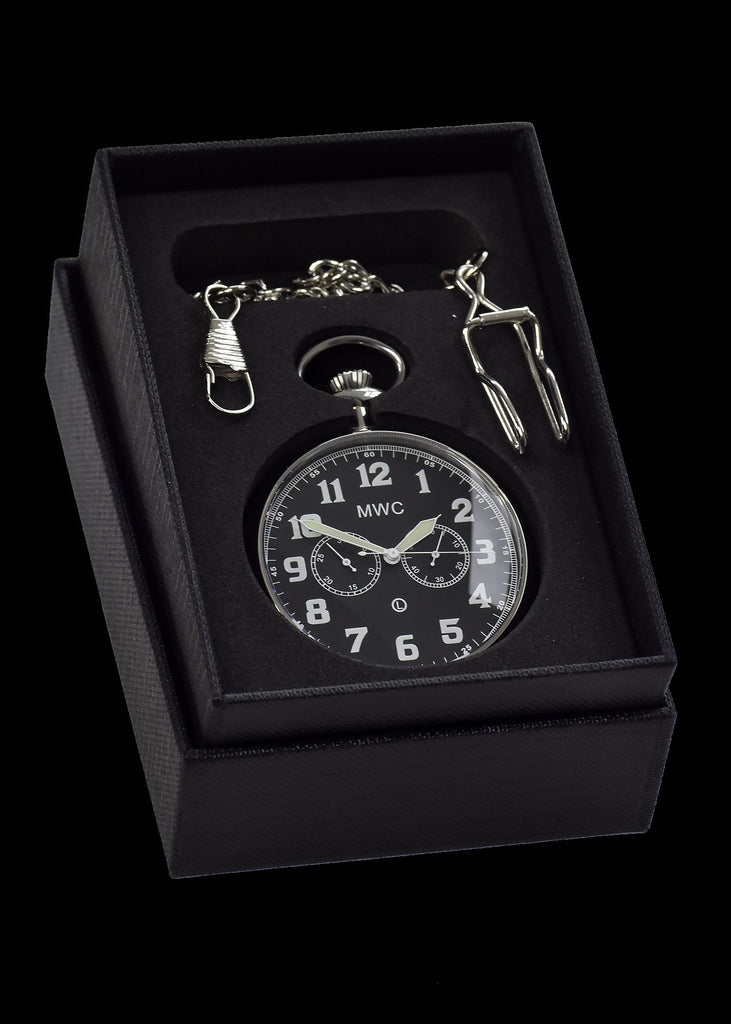 MWC Pocket Watch - General Service Military - Hybrid Movement with Black Dial