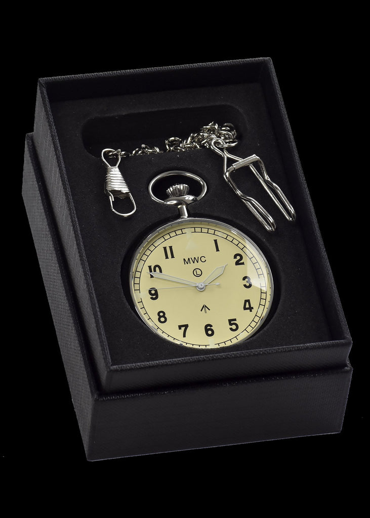 MWC Pocket Watch - General Service Military, Cream Dial - 24 Jewel Automatic with Option to Hand Wind