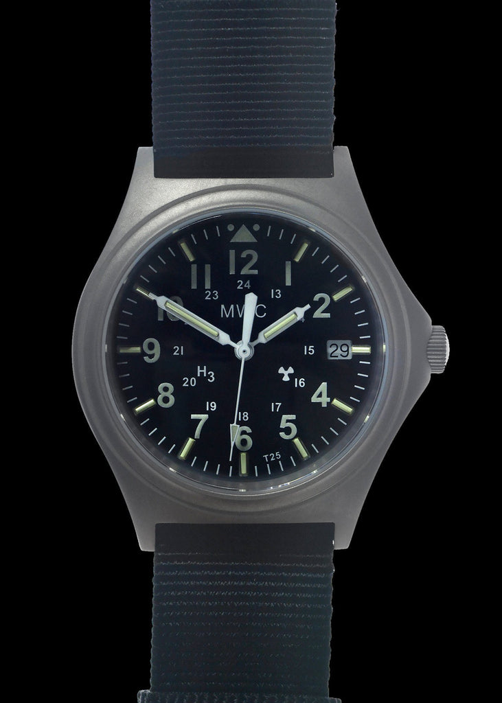 MWC Infantry Watch - Titanium General Service Watch with 300m Water Resistance, 10 Year Battery Life, GTLS, Sapphire Crystal and 12/24 Dial Format
