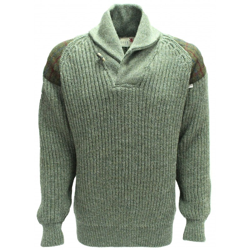 Byreman - Chunky knit Shawl Collar Sweater with Harris Tweed patches