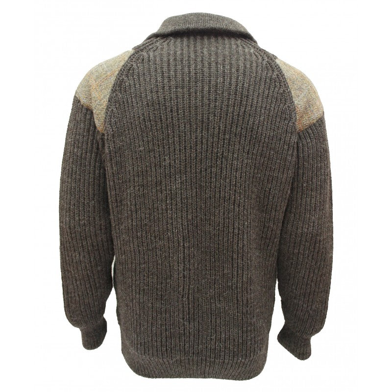 Crofter - Chunky quarter zip neck sweater with Harris Tweed patches