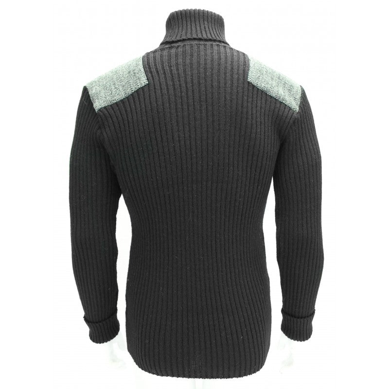 Ghillie - Roll Neck Woolly Pully Sweater with Harris Tweed Patches
