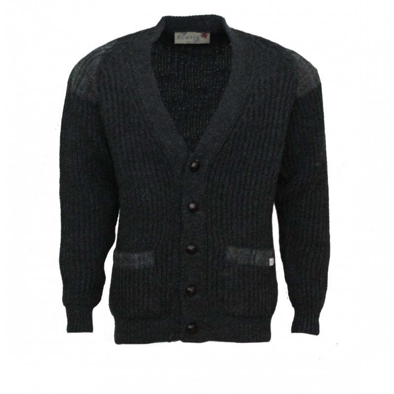 Laird - Chunky knit traditional cardigan with Harris Tweed patches