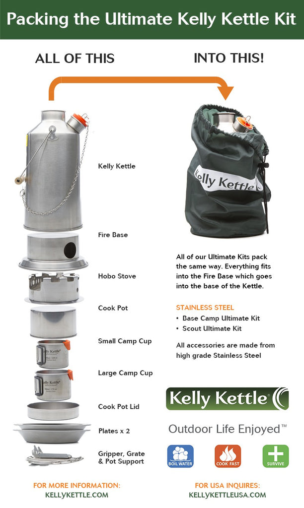 Kelly Kettle Base Camp Stainless Steel Ultimate Kit