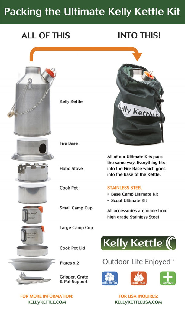 Kelly Kettle Scout Stainless Steel Ultimate Kit