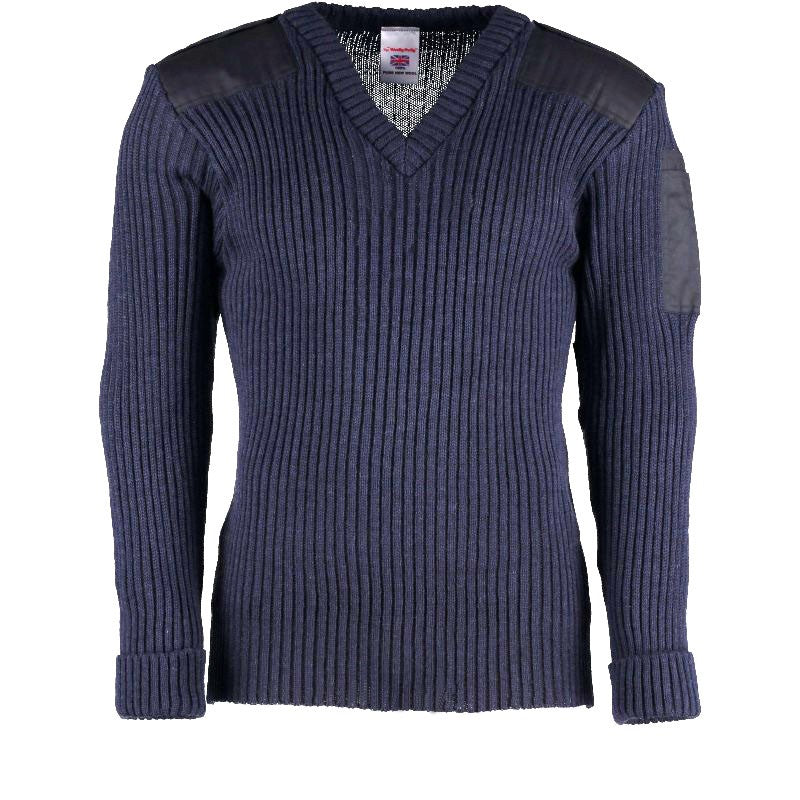 York Woolly Pully Vee Neck Sweater With Patches, Epaulettes and Pen Pocket