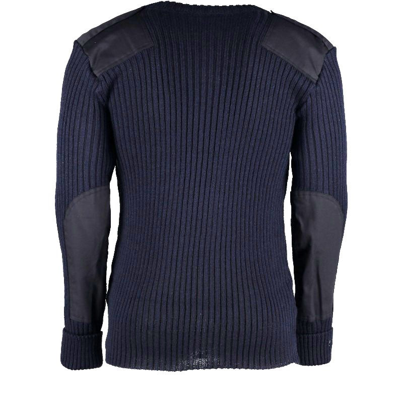 York Woolly Pully Vee Neck Sweater With Patches And Epaulettes