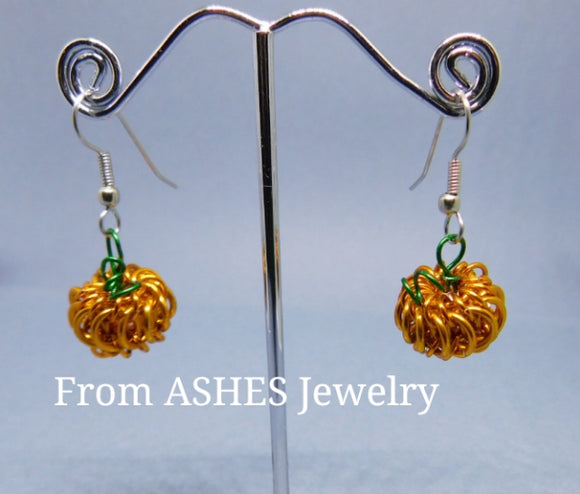 Mini Chainmaille Pumpkin earrings