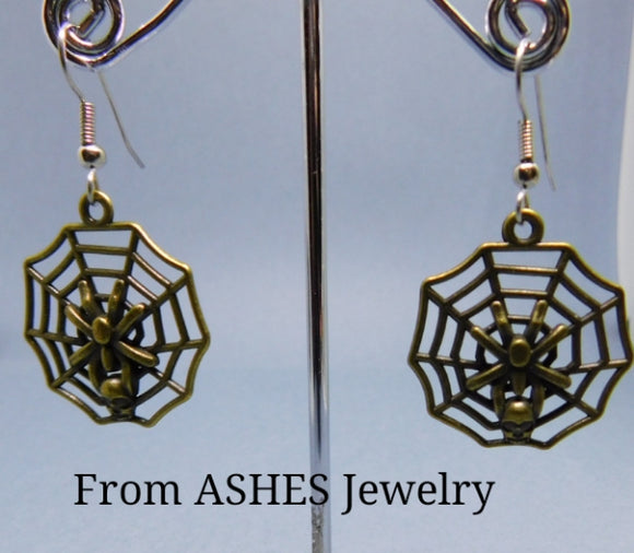 Bronze Spider web earrings