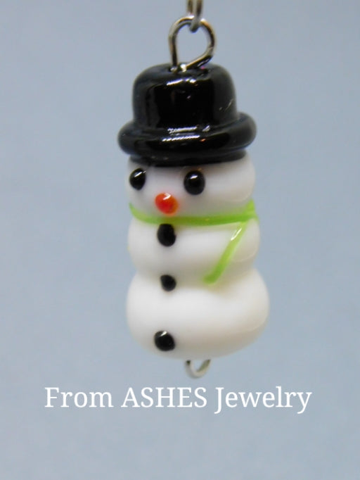 Glass snowman earrings