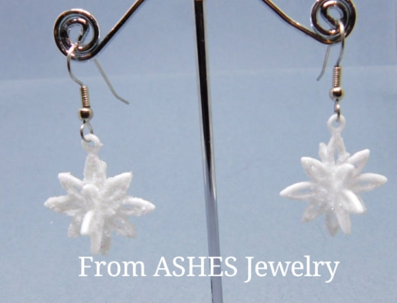 3D Snowflake dangle earring