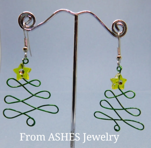 "Wire Christmas tree earring with ""Bling"" star"