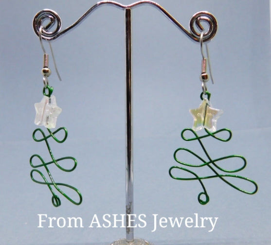 Wire Christmas tree earrings with Iridescent stars