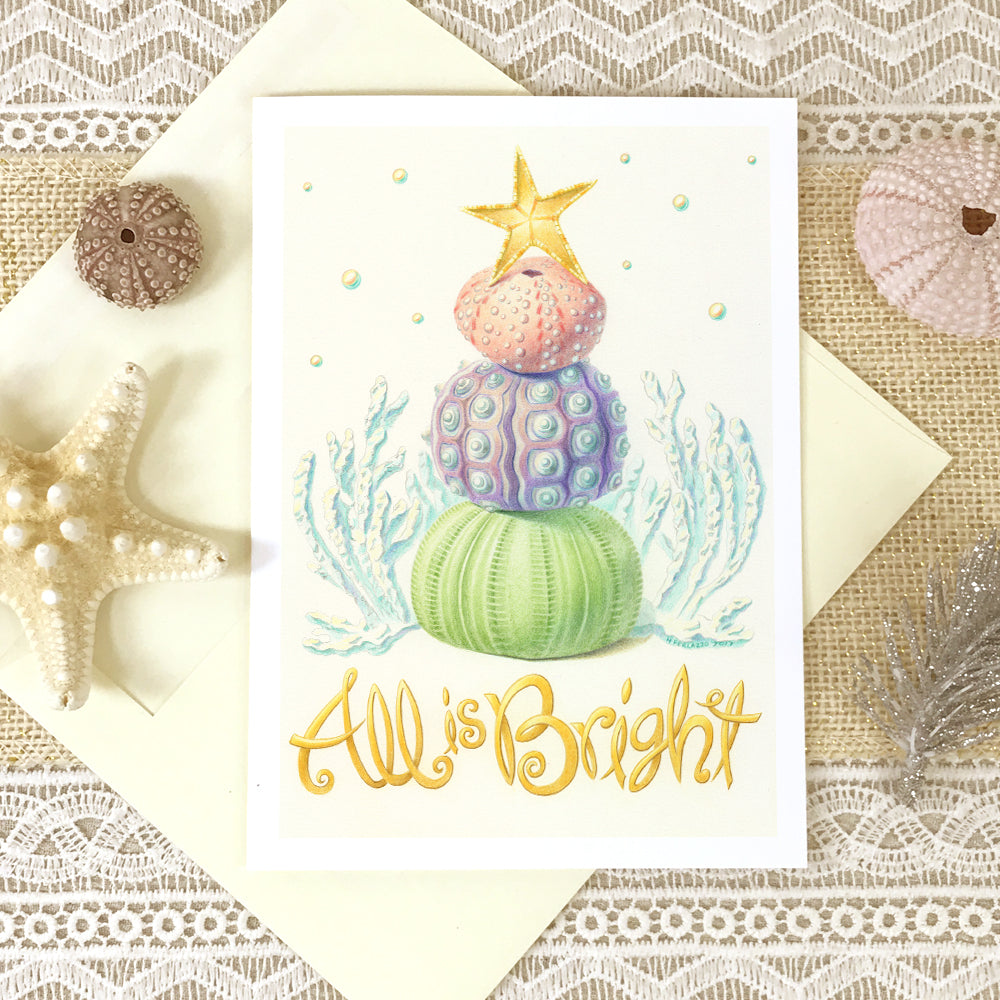 "Sea Urchin ""All is Bright"" Beach Holiday Card"