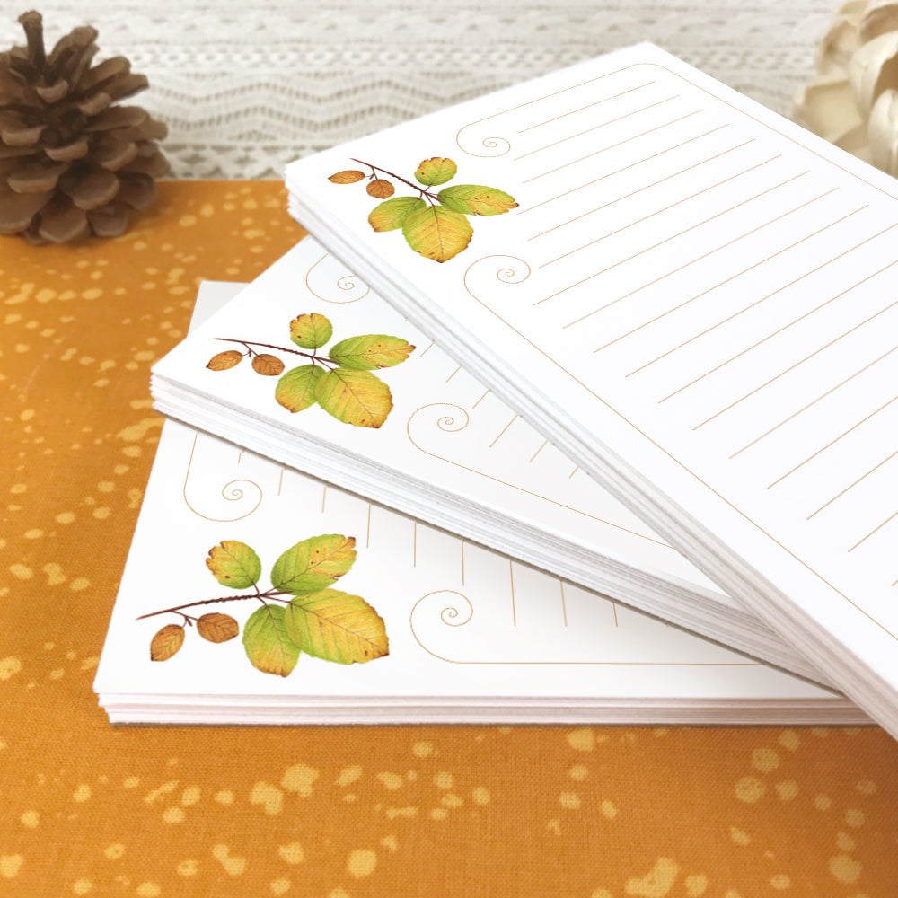 Autumn Leaves Lined Grocery List Notepad