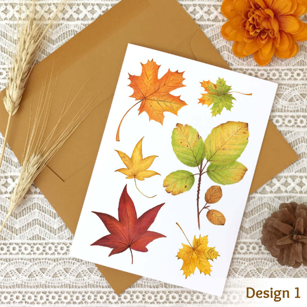 Fall note card design #1 with a collage of watercolor autumn leaves.