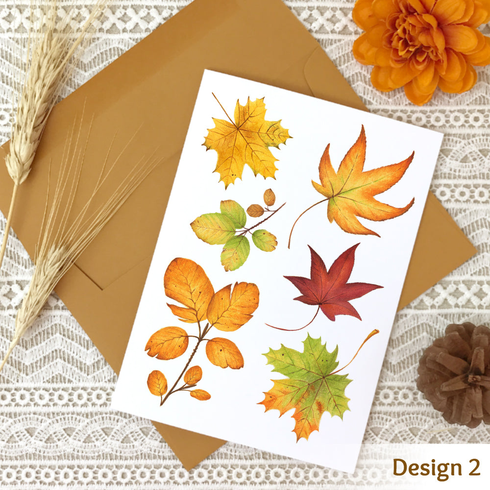 Fall note card design #2 with a collage of watercolor autumn leaves.
