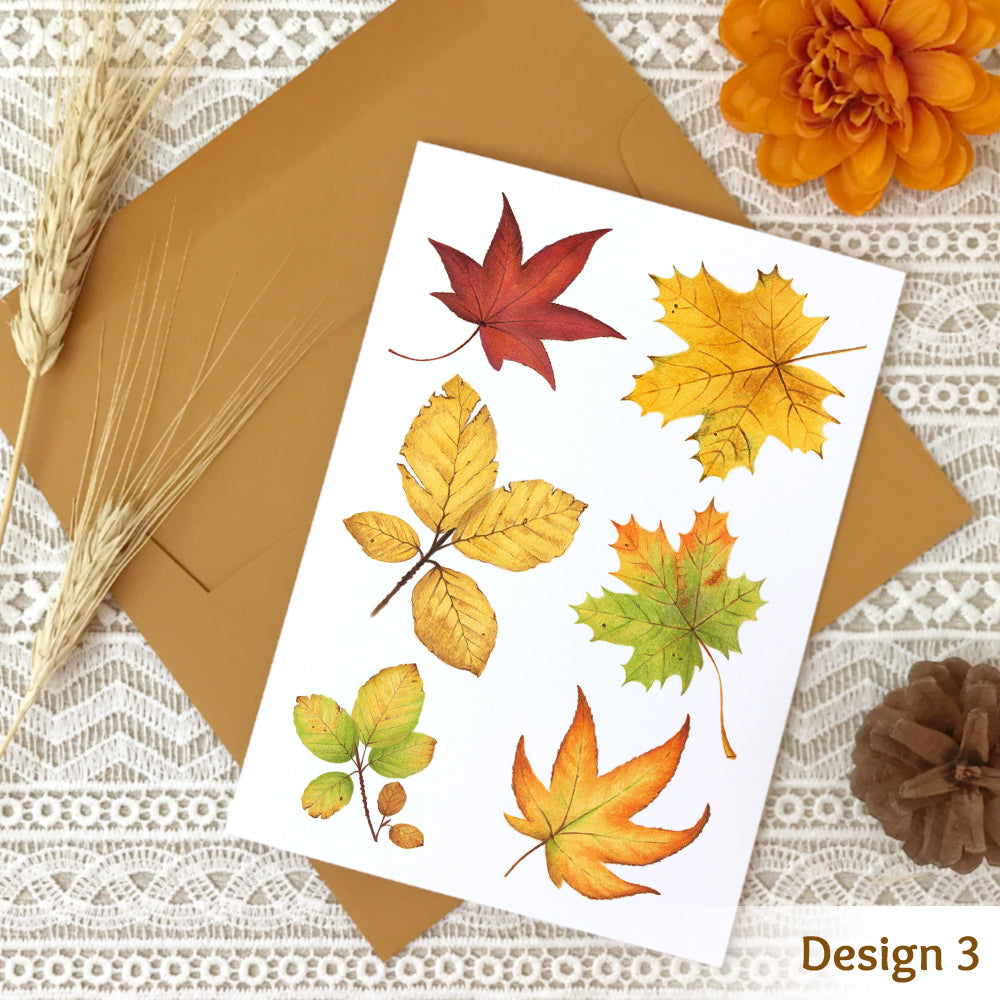 Fall note card design #3 with a collage of watercolor autumn leaves.